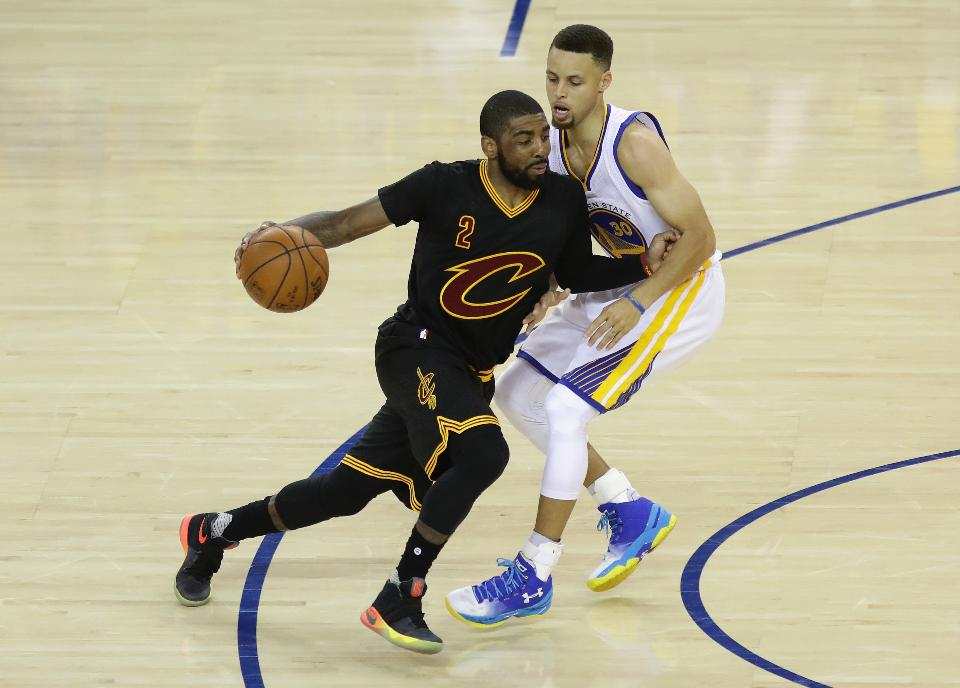 Kyrie driving against Stephen Curry during Game 5 of the 2016 NBA Finals. Photo used from http://www.forbes.com/sites/mitchlawrence/2016/06/14/cavaliers-keep-season-alive-with-game-5-win-getting-a-huge-night-from-irving-and-help-from-the-nba/#1334748c9b1b.