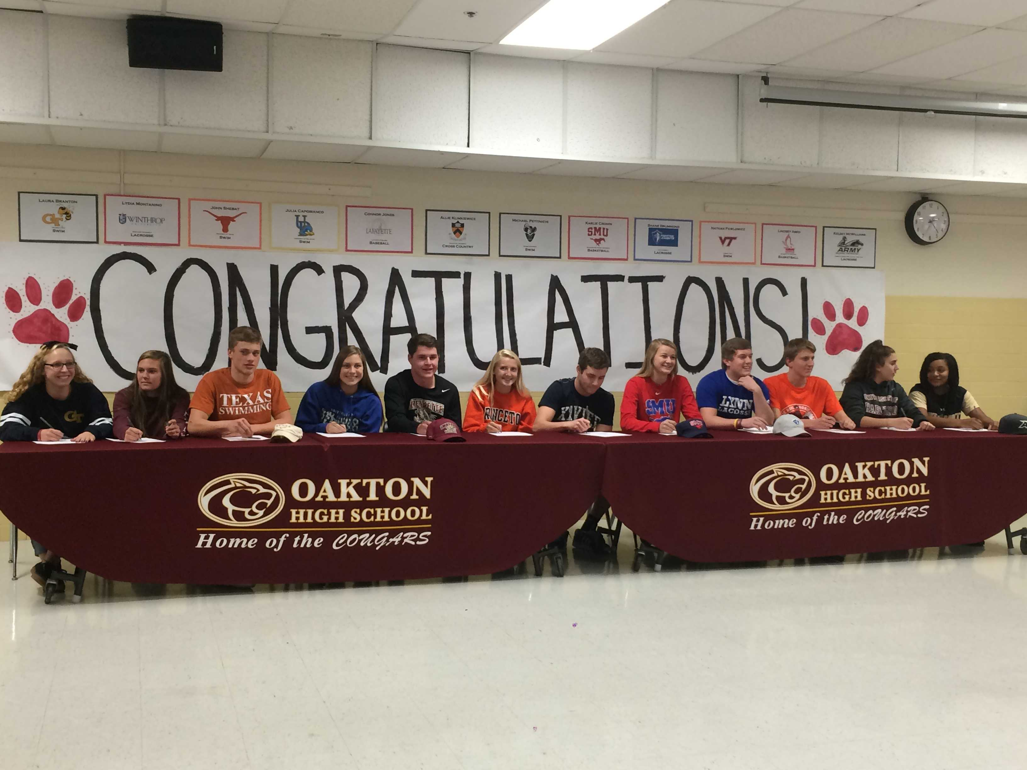 12 of Oakton's athletes participated in the national signing event