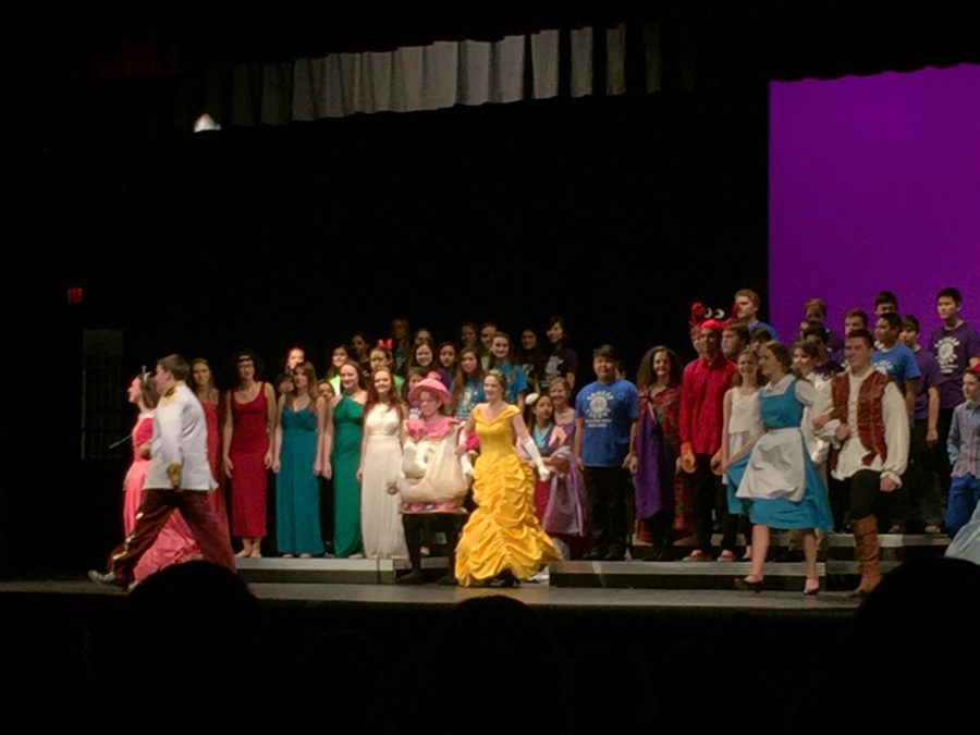 Chorus performers taking a bow at the end of the night