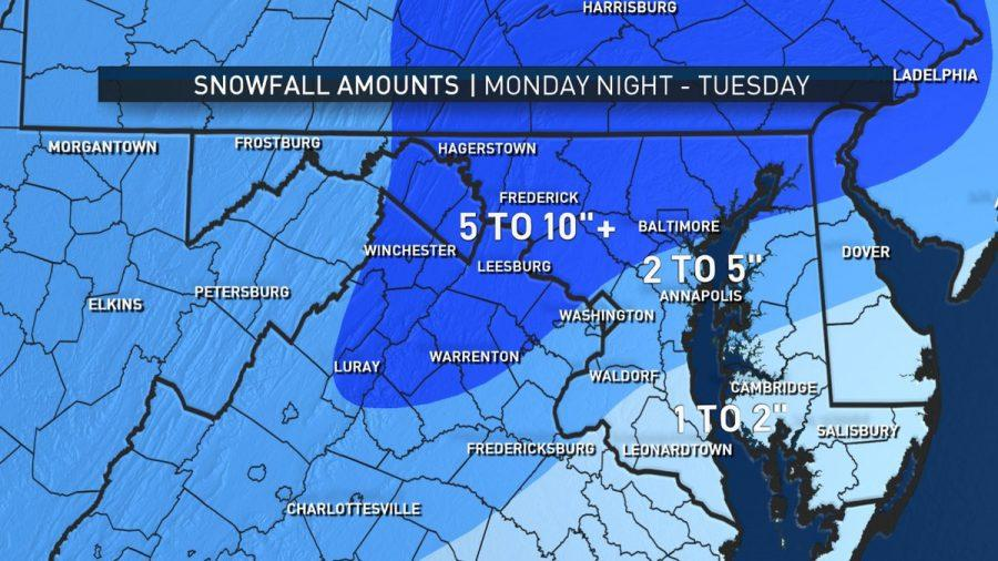 The forecast of snow from now until Tuesday, Mar. 14. (Courtesy NBC Washington).