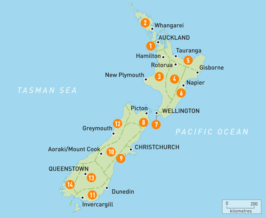 A map of New Zealand, image courtesy of Rough Guides.