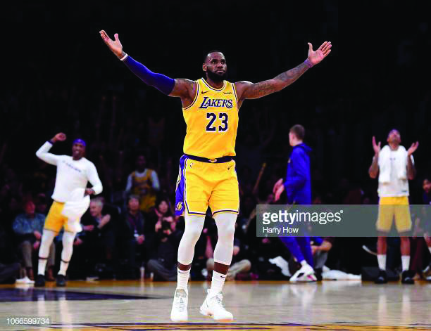 LOS+ANGELES%2C+CA+-+NOVEMBER+29%3A++LeBron+James+%2323+of+the+Los+Angeles+Lakers+celebrates+his+three+pointer+during+a+104-96+win+over+the+Indiana+Pacers+at+Staples+Center+on+November+29%2C+2018+in+Los+Angeles%2C+California.++NOTE+TO+USER%3A+User+expressly+acknowledges+and+agrees+that%2C+by+downloading+and+or+using+this+photograph%2C+User+is+consenting+to+the+terms+and+conditions+of+the+Getty+Images+License+Agreement.++%28Photo+by+Harry+How%2FGetty+Images%29
